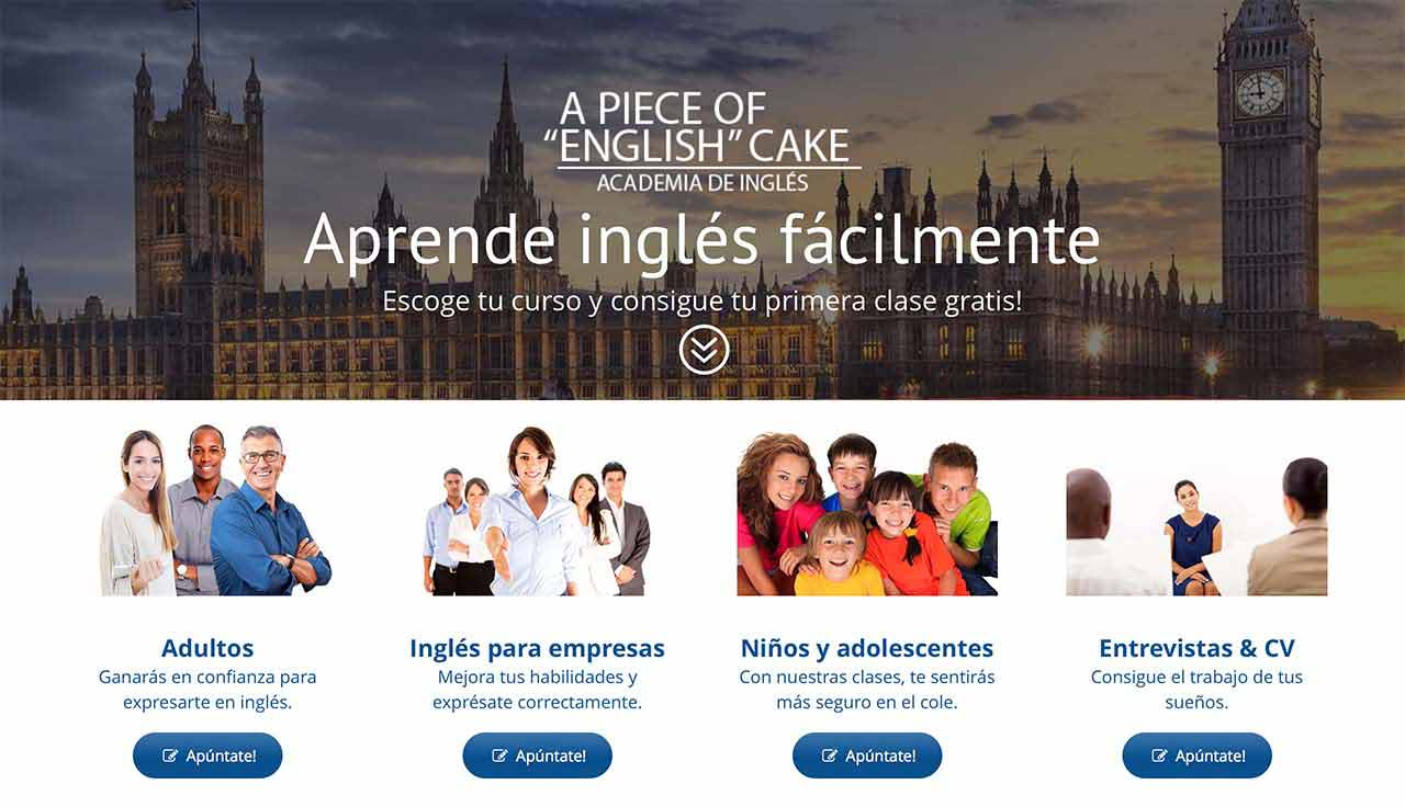 "Página web A piece of ""English"" cake"
